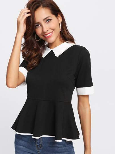 Contrast Pearl Beading Collar And Cuff Peplum Top
