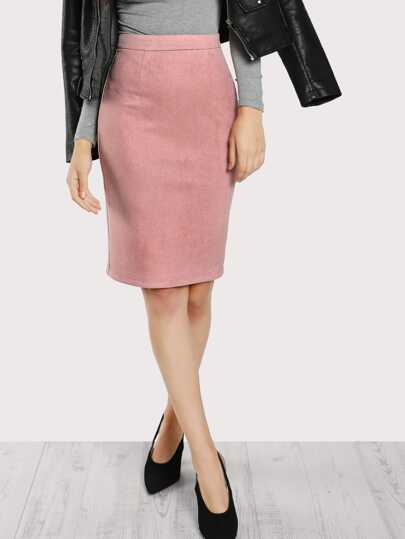 Solid Suede Pencil Skirt