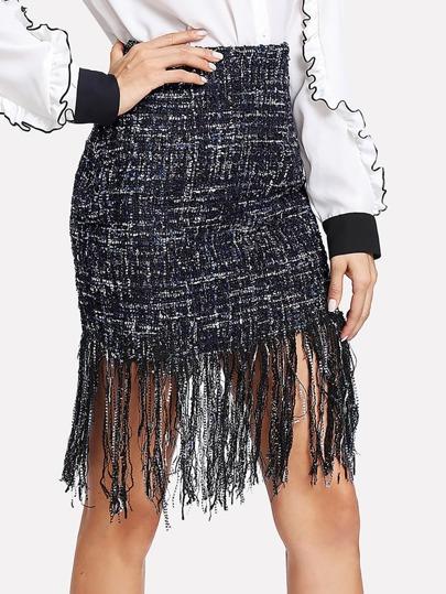Fringe Hem Tweed Skirt
