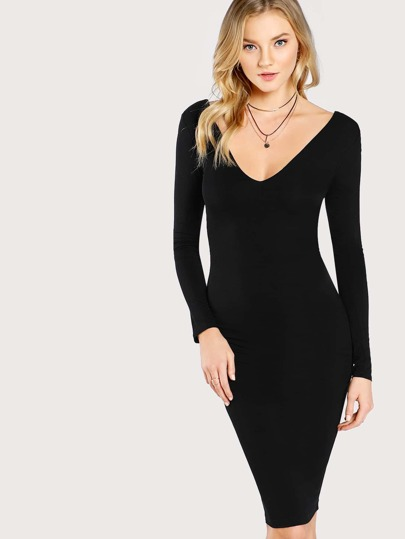 Quarter Sleeve Midi Dress BLACK