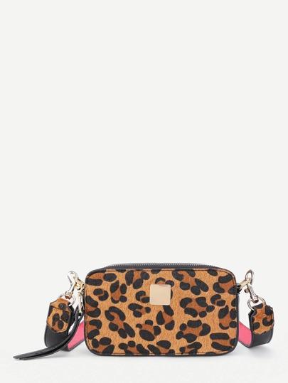 Leopard Print PU Crossbody Bag