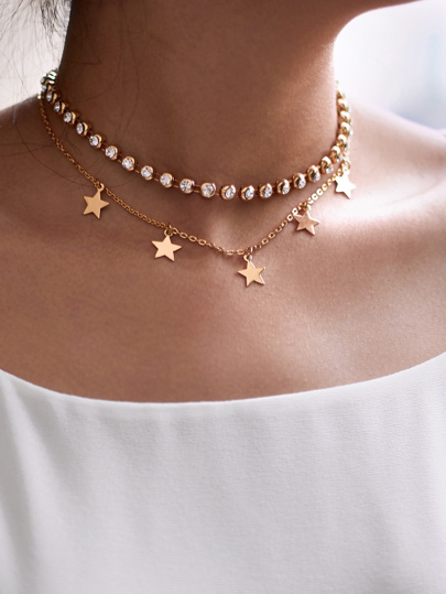 Rhinestone & Star Design Chain Choker