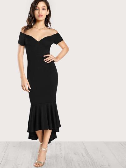 Bardot Sleeve Bodycon Mermaid Dress BLACK