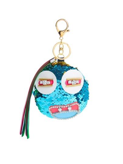 Porte-clés rond avec paillettes et franges