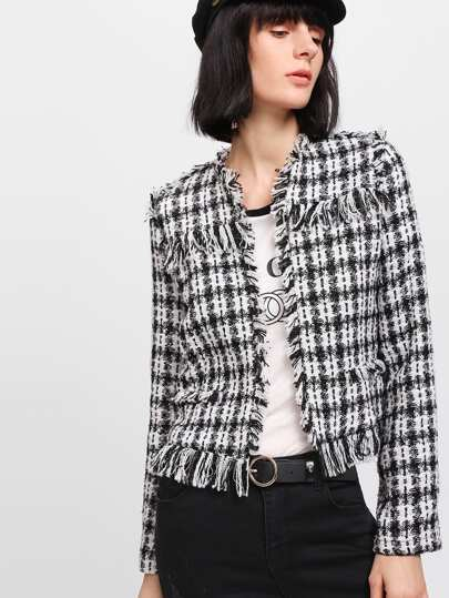Frayed Trim Tweed Blazer