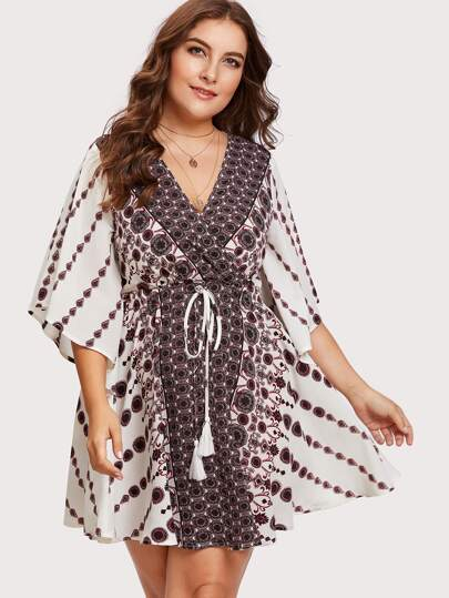 Flutter Sleeve Tasseled Drawstring Ornate Wrap Dress