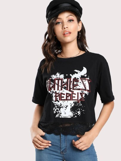 Camiseta con ribete festoneado con impresión