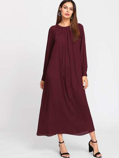 Raglan Sleeve Box Pleated Front Swing Dress