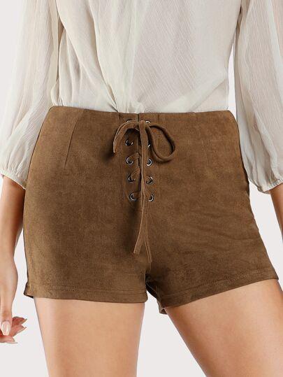 Front Lace Up Faux Suede Shorts MOCHA