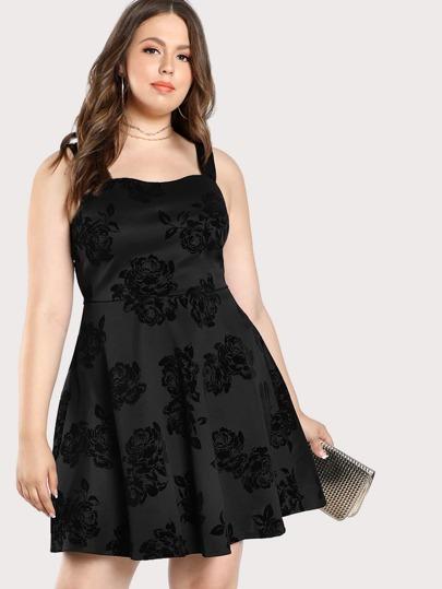 Velvet Floral Print Sleeveless Dress BLACK