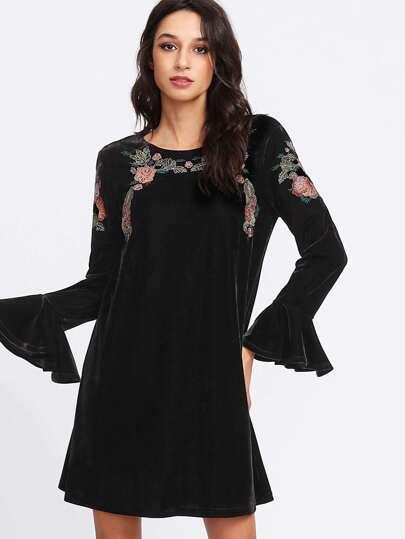Flounce Sleeve Botanical Embroidered Velvet Dress