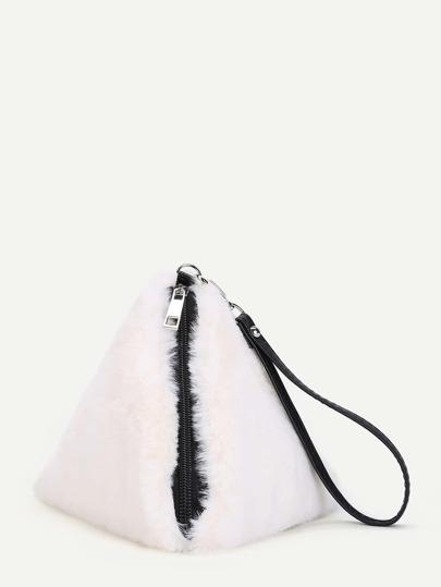 Pyramid Design Faux Fur Wristlet Wallet