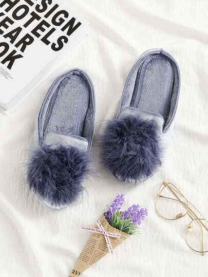 Pom Pom Decorated Flat Slippers