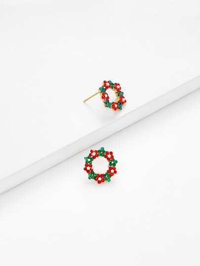 Orecchini pendenti natalizi con strass