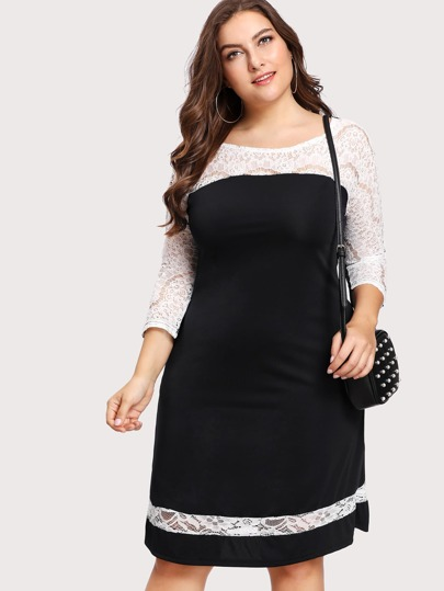 Hollow Out Lace Panel Dress