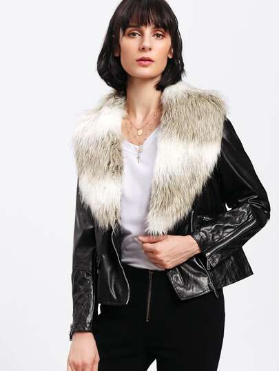 Faux Fur Lapel Zip Up PU Jacket