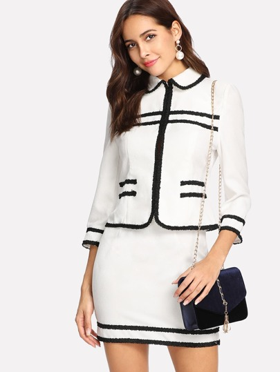 Frayed Trim Hook And Eye Jacket & Skirt Set