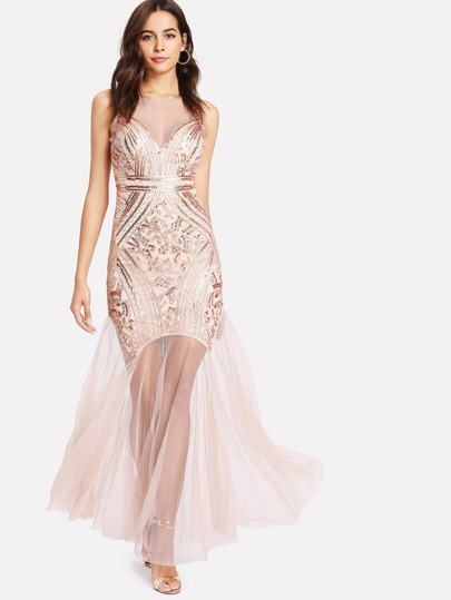 Illusion Neckline Mesh Insert Open Back Sequin Dress