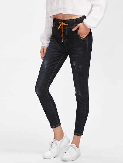 Drawstring Waist Ripped Skinny Jeans