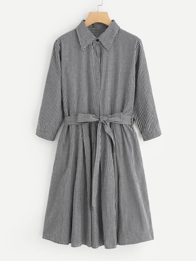 Self Tie Gingham Shirt Dress