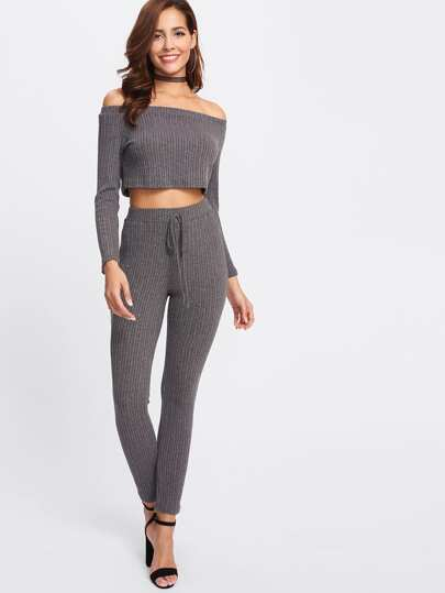 Crop Bardot Top & Drawstring Pants Set