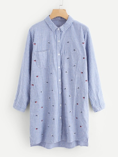 Surfing Embroidered Striped Shirt Dress
