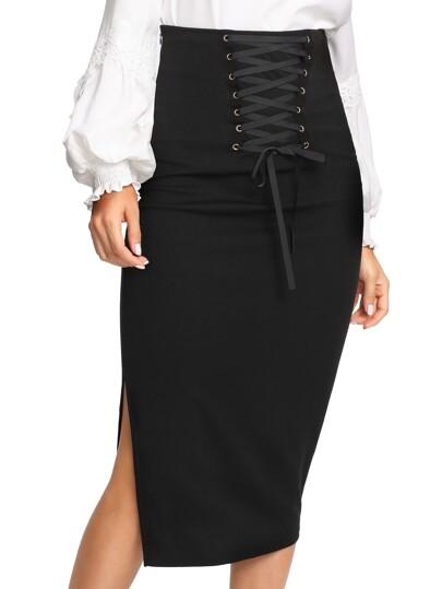 Grommet Lace Up Split Midi Skirt