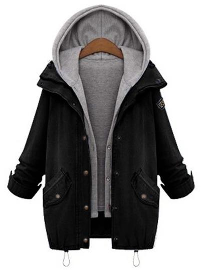 Hooded Drawstring Boyfriend Trends Jean Swish Pockets Two Piece Coat