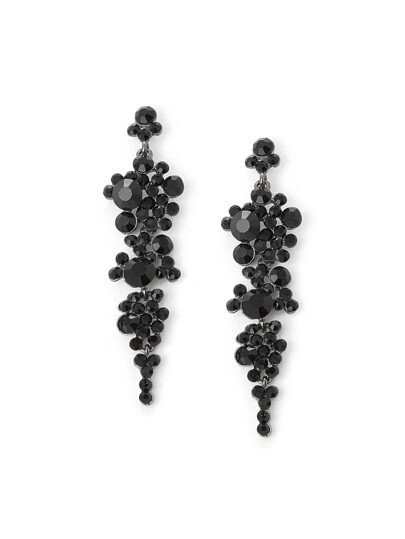 Rhinestone Design Drop Earrings
