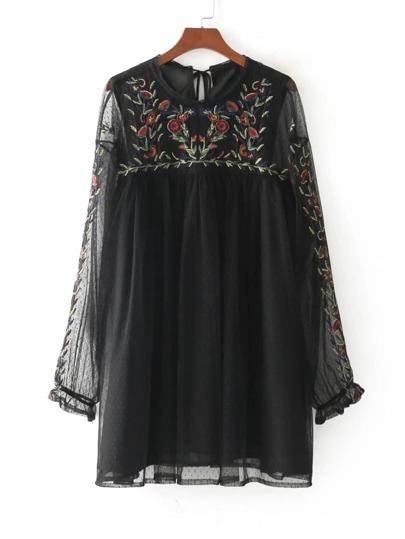 Tassel Tie Back Embroidered Mesh Dress