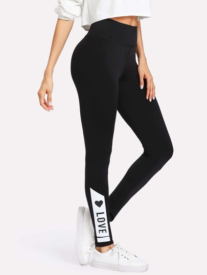 Leggings tricoté imprimé LOVE