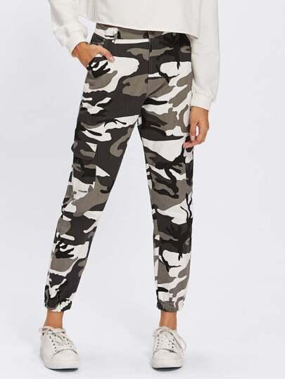 Camo Print Elastic Hem Pants