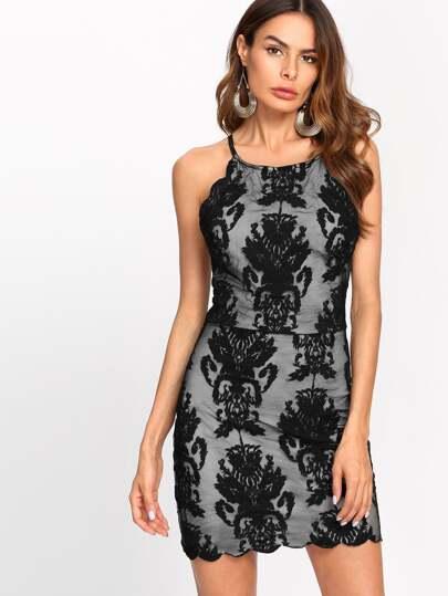 Crisscross Back Scalloped Embroidered Dress