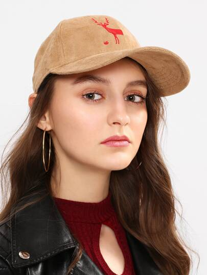 Embroidered Deer Suede Baseball Cap