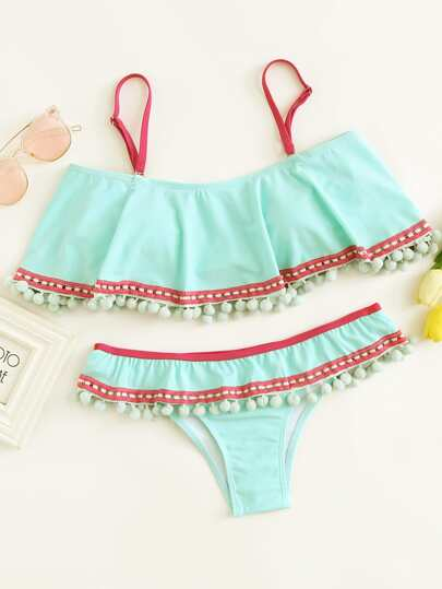 Contrast Trim Pom Pom Bikini Set