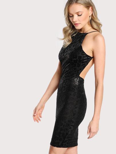 Leopard Print Velvet Burnout Spaghetti Strap Dress LEOPARD