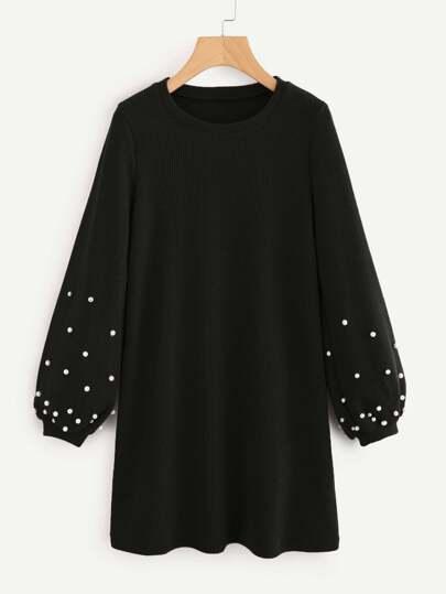 Pearl Beaded Bishop Sleeve Dress