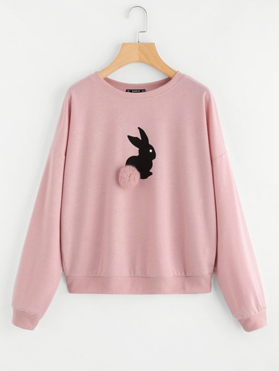 Pom Pom Ball Applique Rabbit Print Pullover