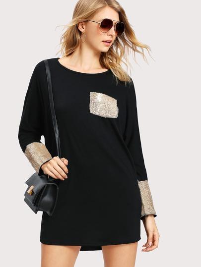 Contrast Sequin Batwing Tee Dress