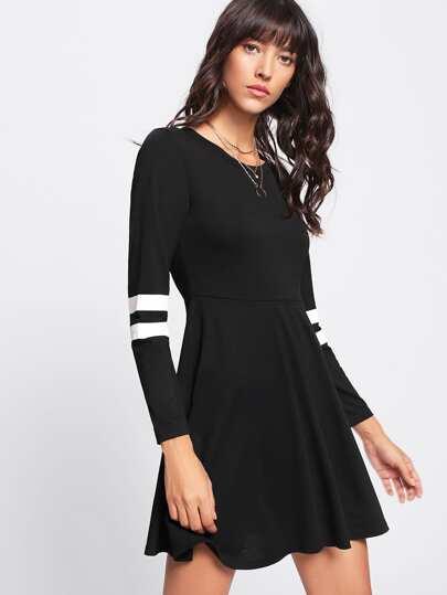 Varsity-striped Sleeve Dress
