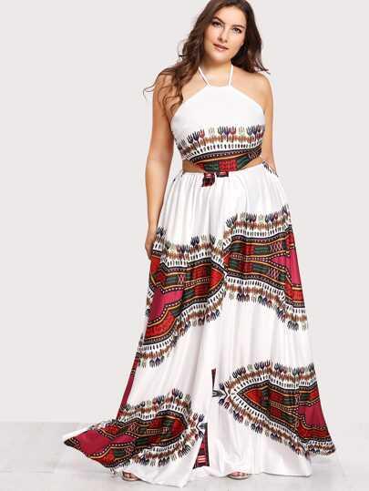 Ornate Print Lace Up Backless Dress