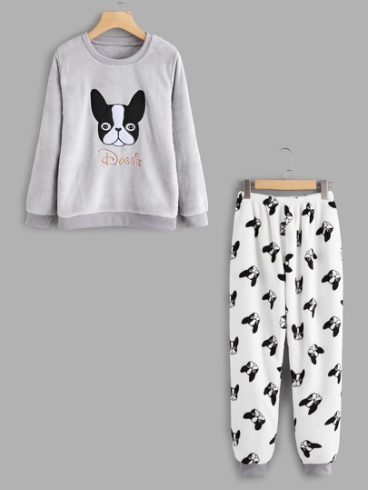 Embroidered Dog Pullover Long Pajama Set