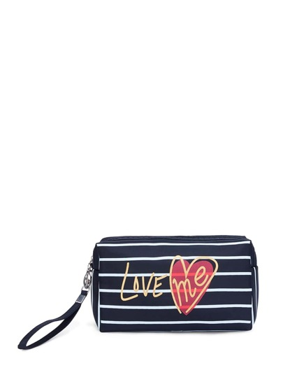 Letter Print Striped Pouch With Wristlet