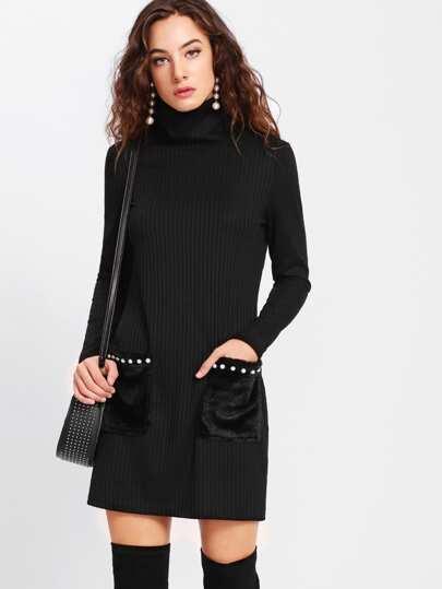 Pearl Beading Faux Fur Pocket Ribbed Dress