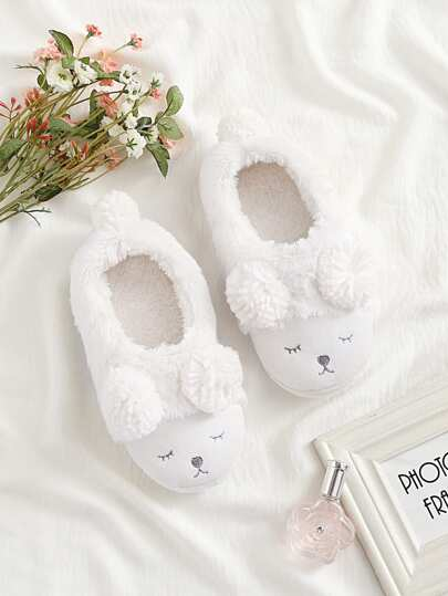 Pom Pom Decorated Faux Fur Flats