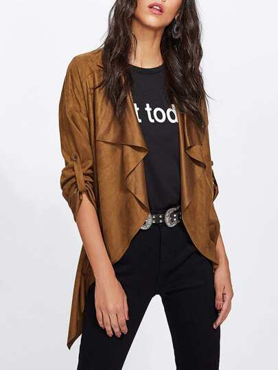 Waterfall Collar Rolled Sleeve Faux Suede Coat