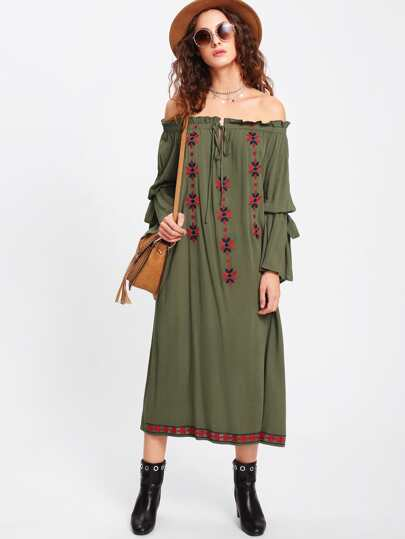 Frill Tie Neck Embroidered Bardot Dress