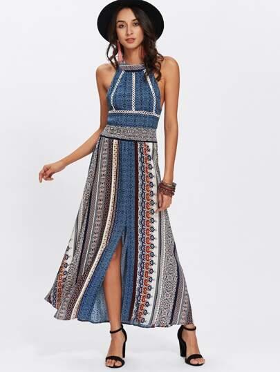Cut Out Back Split Front Dress