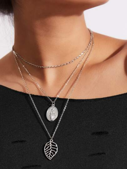 Hollow Leaf Pendant Layered Chain Necklace
