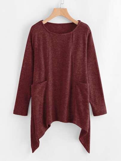 Pull bord asymétrique en tricot